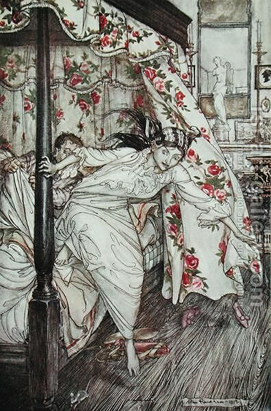 Venus and the Cat, illustration from Aesops Fables, published by Heinemann, 1912 by Arthur Rackham - Reproduction Oil Painting