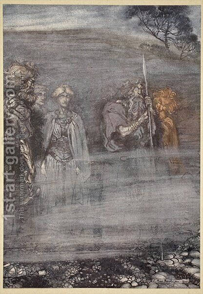 The Gods grow wan and aged at the loss of Freia, illustration from The Rhinegold and the Valkyrie, 1910 by Arthur Rackham - Reproduction Oil Painting