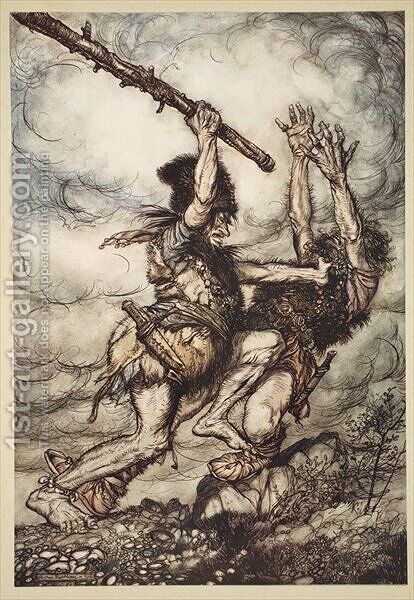 Fafner kills Fasolt, illustration from The Rhinegold and the Valkyrie, 1910 by Arthur Rackham - Reproduction Oil Painting
