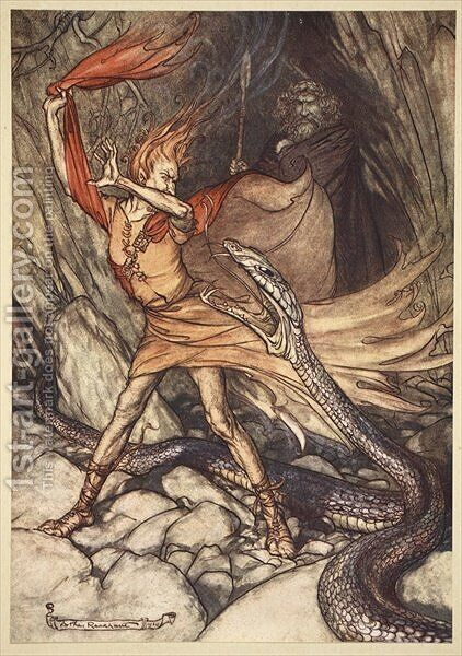 Ohe Ohe Horrible dragon, O swallow me not Spare the life of poor Loge, illustration from The Rhinegold and the Valkyrie, 1910 by Arthur Rackham - Reproduction Oil Painting