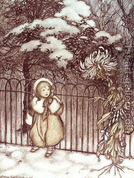 Winter from Peter Pan in Kensington Gardens by J.M. Barrie, 1906 by Arthur Rackham - Reproduction Oil Painting