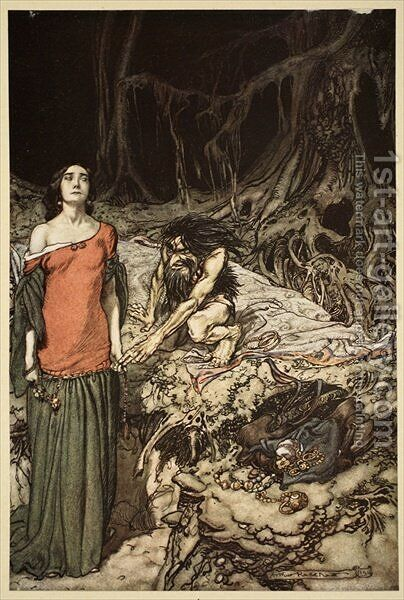 The wooing of Grimhilde, the mother of Hagen, from Siegfried and The Twilight of the Gods, 1910 by Arthur Rackham - Reproduction Oil Painting