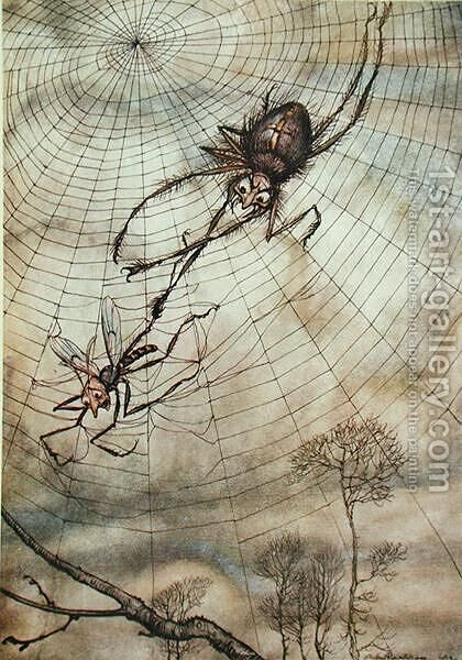 The Spider and the Fly, illustration from Aesops Fables, published by Heinemann, 1912 by Arthur Rackham - Reproduction Oil Painting