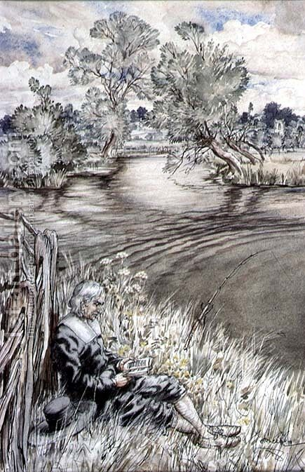 Izaak Walton reclining against a Fence, from The Compleat Angler by Izaak Walton, 1931 by Arthur Rackham - Reproduction Oil Painting