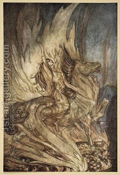 Brunnhilde on Grane leaps on to the funeral pyre of Siegfried, illustration from Siegfried and the Twilight of the Gods, 1924 by Arthur Rackham - Reproduction Oil Painting