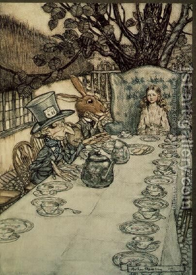 The Mad Hatters Tea Party, illustration to Alices Adventures in Wonderland by Lewis Carroll 1832-98, 1907 by Arthur Rackham - Reproduction Oil Painting