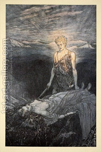 Magical rapture pierces my heart; fixed is my gaze, burning with terror, I reel, my heart faints and fail!', illustration from Siegfried and the Twilight of the Gods, 1924 by Arthur Rackham - Reproduction Oil Painting