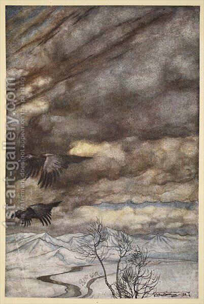 The ravens of Wotan, illustration from Siegfried and the Twilight of the Gods, 1924 by Arthur Rackham - Reproduction Oil Painting