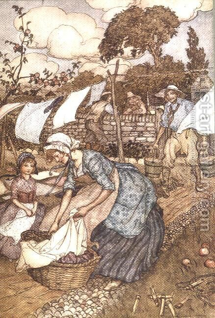 Washing Day from Rip Van Winkle by Washington Irving 1783-1859, 1905 by Arthur Rackham - Reproduction Oil Painting