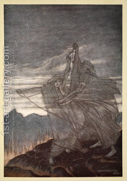 The norns vanish, illustration from Siegfried and the Twilight of the Gods, 1924 by Arthur Rackham - Reproduction Oil Painting