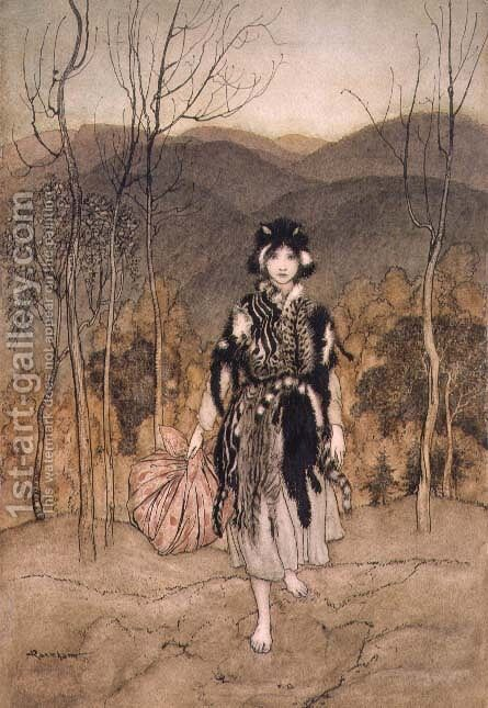 She Went Along, and Went Along, and Went Along Catskin, illustration from English Fairy Tales, retold by F.A Steel, 1918 by Arthur Rackham - Reproduction Oil Painting