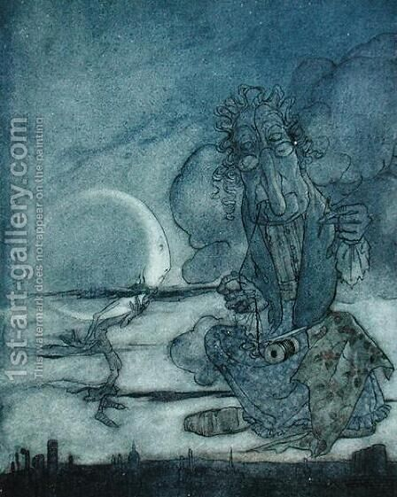 The Moon and her Mother, illustration from Aesops Fables, published by Heinemann, 1912 by Arthur Rackham - Reproduction Oil Painting