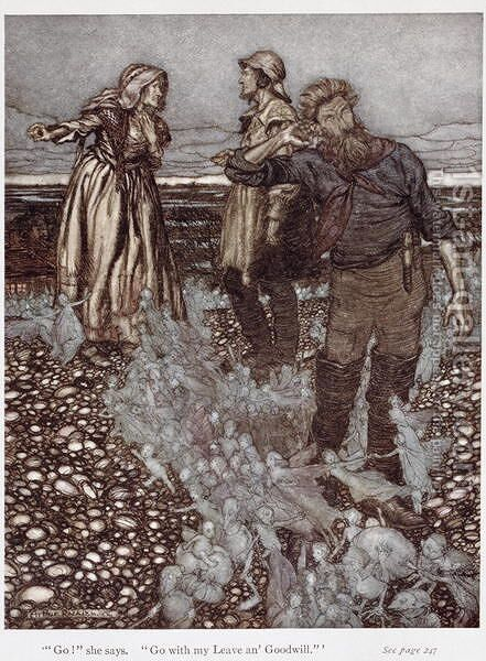 The Widow Whitgift and her sons, from Puck of Pook Hill by Rudyard Kipling 1865-1936 1906 by Arthur Rackham - Reproduction Oil Painting