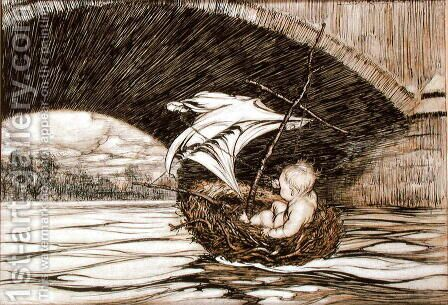 He Passed Under the Bridge and Came Within Full Sight of the Delectable Gardens, illustration for Peter Pan in Kensington Gardens by J.M. Barrie 1860-1937 1906 by Arthur Rackham - Reproduction Oil Painting