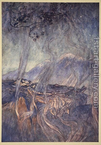 The sleep of Brunnhilde, illustration from The Rhinegold and the Valkyrie, 1910 by Arthur Rackham - Reproduction Oil Painting
