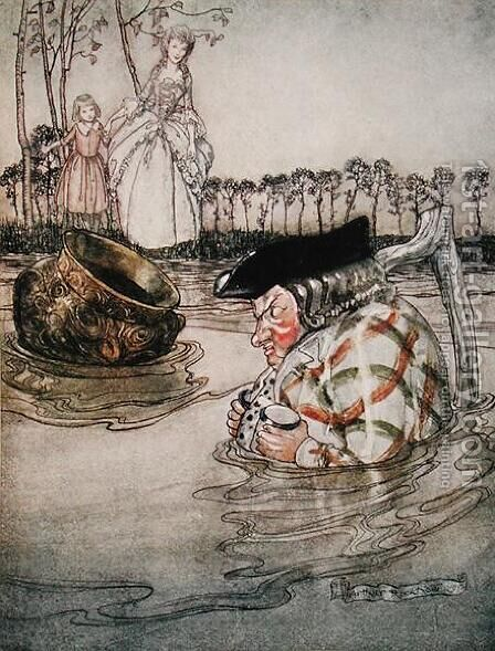 The Two Pots, illustration from Aesops Fables, published by Heinemann, 1912 by Arthur Rackham - Reproduction Oil Painting