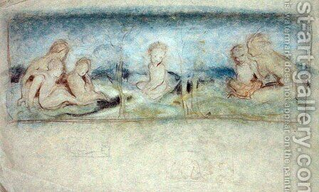 A Child Among Fairies Study for an Oil Painting by Arthur Rackham - Reproduction Oil Painting