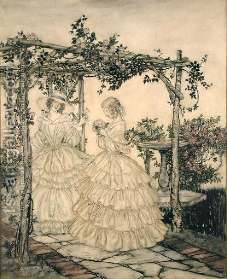 The Rose Garden, c.1923-5 by Arthur Rackham - Reproduction Oil Painting