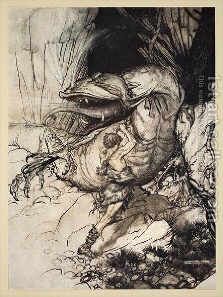 Siegfried kills Fafner, illustration from Siegfried and the Twilight of the Gods, 1924 by Arthur Rackham - Reproduction Oil Painting