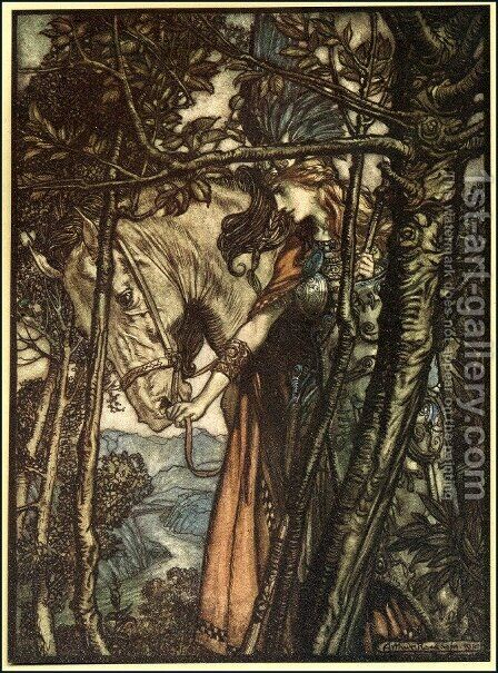 Brunnhilde slowly and silently leads her horse down the path to the cave, illustration from The Rhinegold and the Valkyrie, 1910 by Arthur Rackham - Reproduction Oil Painting