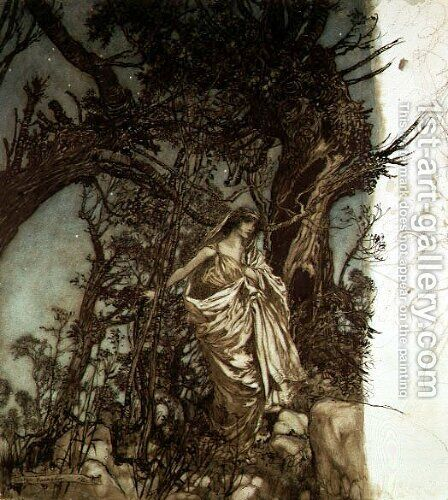 Never so weary, never so woeful, illustration to A Midsummer Nights Dream, 1908 by Arthur Rackham - Reproduction Oil Painting