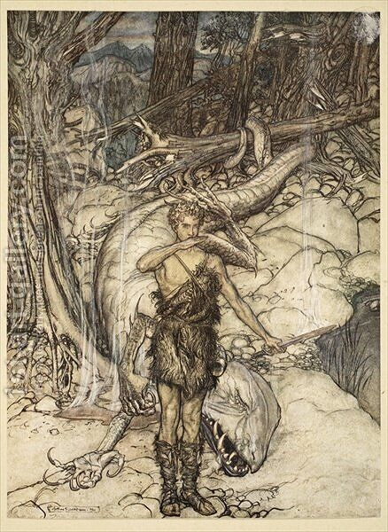 The hot blood burns like fire, illustration from Siegfried and the Twilight of the Gods, 1924 by Arthur Rackham - Reproduction Oil Painting