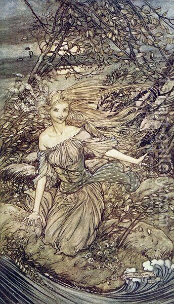 Undine, illustration from the book by Baron Friedrich de la Motte Fouque 1777-1843 1909 2 by Arthur Rackham - Reproduction Oil Painting