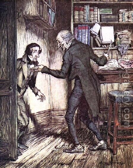 Scrooge and Bob Cratchit, from Dickens A Christmas Carol by Arthur Rackham - Reproduction Oil Painting