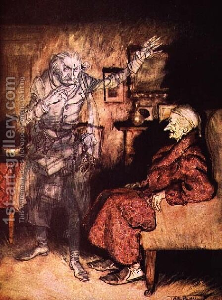 Scrooge and The Ghost of Marley, from Dickens A Christmas Carol by Arthur Rackham - Reproduction Oil Painting
