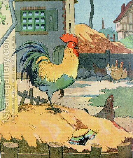 The Cock, illustration from Le Buffon de Benjamin Rabier, adapted from Histoire Naturelle of Georges de Buffon 1707-88 by Benjamin Rabier - Reproduction Oil Painting