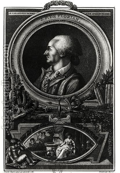 Jean-Pierre Claris de Florian 1755-94 engraved by Massol, 1785 by (after) Queverdo, Francois Maria Isidore - Reproduction Oil Painting