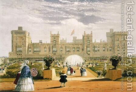 Eastern view of the Castle and Garden, Windsor Castle, 1838 by James Baker Pyne - Reproduction Oil Painting