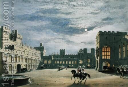State arrival of a royal visitor, the Quadrangle by moonlight, Windsor Castle, 1838 by James Baker Pyne - Reproduction Oil Painting