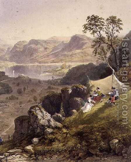Thirlmere and Wythburn, detail of a sketching party, from The English Lake District, 1853 by James Baker Pyne - Reproduction Oil Painting