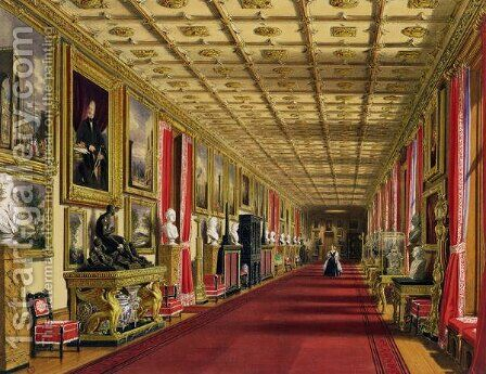 South Corridor, Windsor Castle, 1838 by James Baker Pyne - Reproduction Oil Painting
