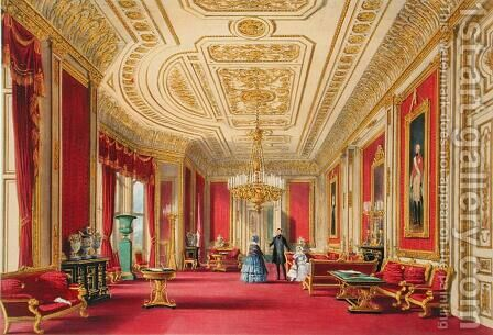 The Crimson Drawing Room, Windsor Castle, 1838 by James Baker Pyne - Reproduction Oil Painting