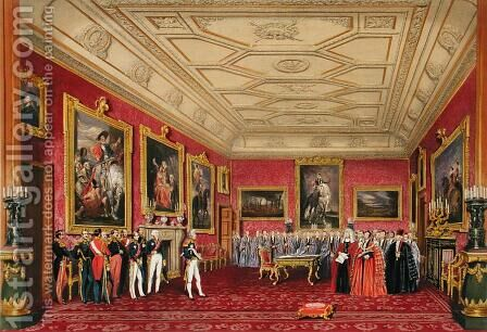 The Rubens Room, Windsor Castle - the King of France receiving an address from the Alderman, 1838 by James Baker Pyne - Reproduction Oil Painting