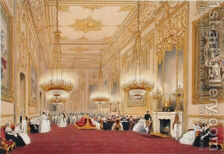 The Grand Reception Room - State Entertainment for His Majesty King Louis-Philippe, 1838 by James Baker Pyne - Reproduction Oil Painting