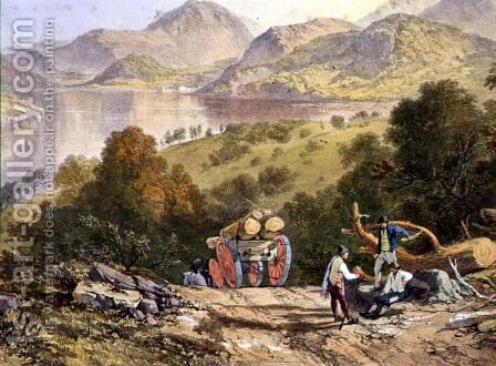 Ullswater, detail of a woodmans cart, from The English Lake District, 1853 by James Baker Pyne - Reproduction Oil Painting
