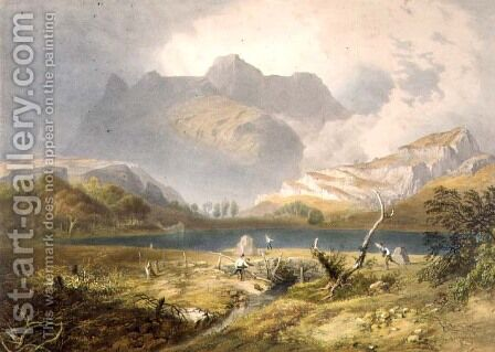 Langdale Pikes, from The English Lake District, 1853 by James Baker Pyne - Reproduction Oil Painting