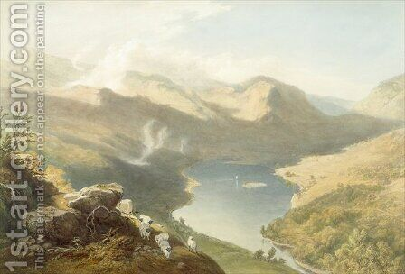 Grasmere from Langdale Fell, from The English Lake District, 1853 by James Baker Pyne - Reproduction Oil Painting