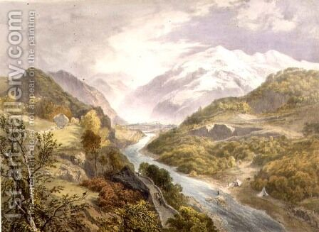 The Derwent River and Borrowdale, from The English Lake District, 1853 by James Baker Pyne - Reproduction Oil Painting
