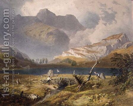 Langdale Pikes, detail of the tarn, from The English Lake District, 1853 by James Baker Pyne - Reproduction Oil Painting
