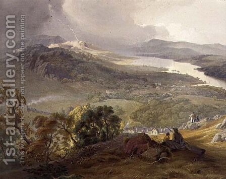 Lake Windermere, detail of the Lakeside Railway, from The English Lake District, 1853 by James Baker Pyne - Reproduction Oil Painting