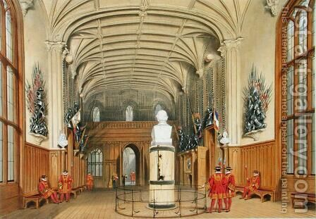 The Guard Chamber, Windsor Castle, 1838 by James Baker Pyne - Reproduction Oil Painting