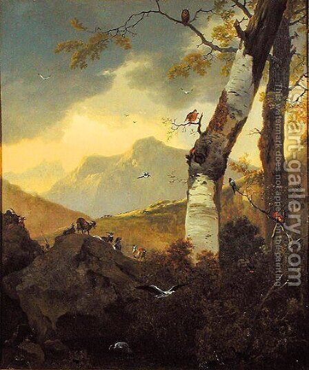Mountainous Landscape with Goats and Birds, c.1657 by Adam Pynacker - Reproduction Oil Painting