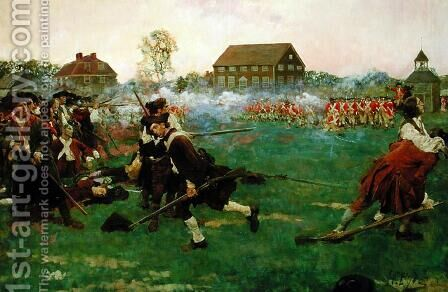 The Fight on Lexington Common, April 19, 1775, from 'The Story of the Revolution by Woodrow Wilson 1856-1924, published in Scribners Magazine, January 3, 1898 by Howard Pyle - Reproduction Oil Painting