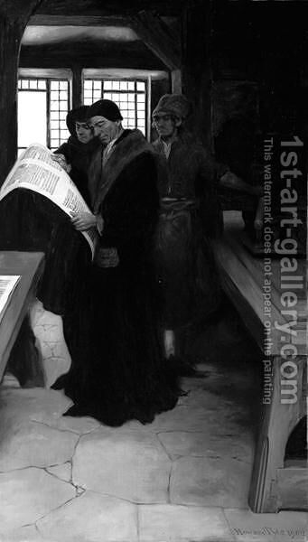 Caxton at His Press, 1902 by Howard Pyle - Reproduction Oil Painting