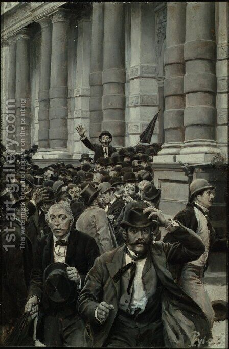 The Rush from the New York Stock Exchange on September 18, 1873, from A History of the Last Quarter Century' by E. Benjamin Andrews, published in Scribners Magazine, July 1895 by Howard Pyle - Reproduction Oil Painting