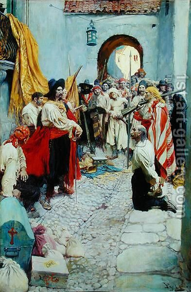 Extorting tribute from the citizens, or The sack of Carthagena, from The Fate of a Treasure Town by Howard Pyle, published in Harpers Monthly Magazine, December 1905 by Howard Pyle - Reproduction Oil Painting